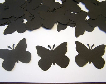 50 Black Paper Butterfly Punch Die cuts Cutout Punch Confetti Embellishments Scrapbooking