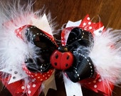 4 Inch Lady Bug Bow with Boa
