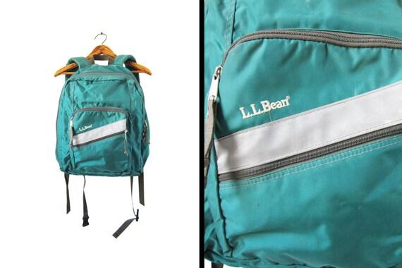 Vintage 90s Backpack L L Bean Seafoam Green Deluxe Daypack