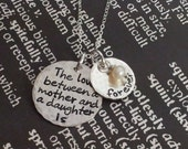 Hand Stamped Mommy Necklace engraved Sterling Silver Necklace with quote The love Between a Mother and daughter is forever