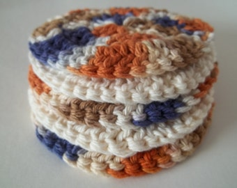Round Cotton Scrubbies -Set of 5 in Rustic Colors