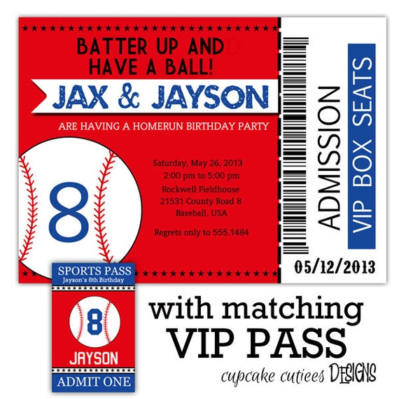 Baseball Ticket VIP package PaRtY PaCk by CupcakeCutieesParty