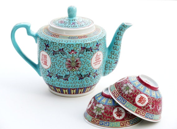 Vintage Asian Turquoise Mun Shou Teapot Chinese By