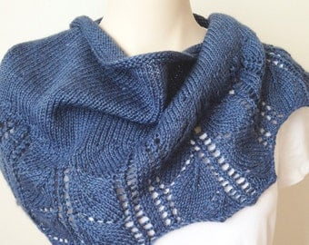 Knitting Pattern Scarf - Leaves Shawlette - Blue Denim Wool Bamboo Silk