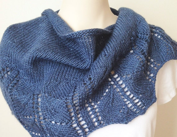 Knitting Pattern Scarf Leaves Shawlette Blue Denim Wool