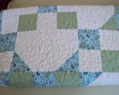Patchwork Quilt in Green, Blue, White - Throw Quilt