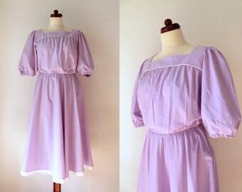 Vintage Lilac Dress - 1970's Lavender Sundress - Cotton Dress - Size M