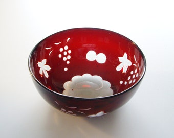 Vintage Glass Bowl Rustic Bohemian Ruby Cut to Clear Shabby or Cottage Chic, Art Glass