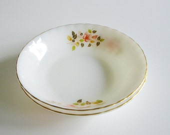 Vintage, Milk Glass Bowls, Pasta Bowls, Vegetable Bowls, Gold Trim, Leaves, Flowers, Set of 2, Marked J H in Oval, Pair
