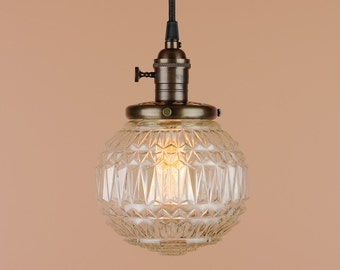 Pendant Lights - 6 inch Faceted Diamond Pattern Clear Glass Globe - Hand Finished in Oil Rubbed Bronze