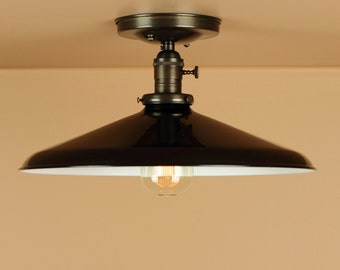 Semi Flush Lighting w/ 14 inch Glossy Black Porcelain Enamel Shade -Oil Rubbed Bronze / Satin Nickel Finish - Downrod Option