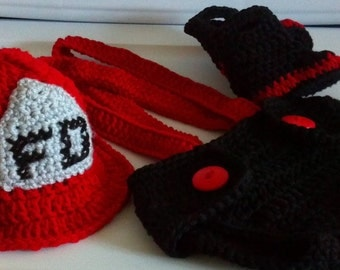 Fireman Hat, diaper cover, suspenders and boots crochet Pattern, Newborn to 12 months