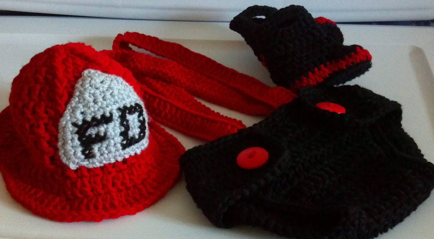 Crochet Patterns For Baby Frocks : Fireman Hat diaper cover suspenders and boots crochet