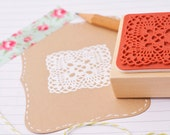 Mounted Lace Doily stamp square with delicate pattern design. Rubber stamp 2x2 inches wood mounted. Detailed rubber stamp Craft stamps