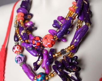 Chunky Purple and Orange Statement Necklace / Purple Coral Necklace / Unique Purple Necklace / Big Bold Beaded Necklace
