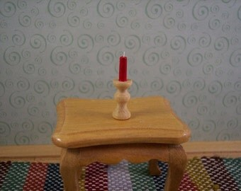 miniature wooden candlestick in 1 inch scale