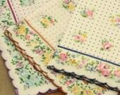Vintage Ladies Handkerchiefs - 3Dotted Floral Hankies - Three(3) Ladies Accessories - Ladies Vintage Handkerchieves - Ladies Vintage Hankies