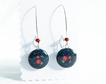 Dark blue small dangly earrings floral jewelry, red flowers earrings