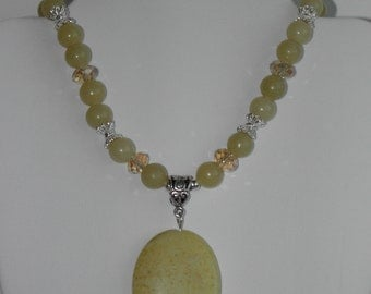 Lemon Jasper and Jade necklace (#347)