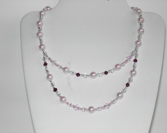 Pink Swarovski crystal pearl  necklace (#417)