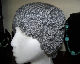 Gorgeous Crocheted Cloche Hat in Lt. Grey