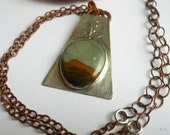 Mixed Metalwork Silver Sterling Copper Moon Picture Jasper Pendant Necklace