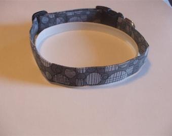 Handmade Cotton Dog Collar - Gray and Black Circles
