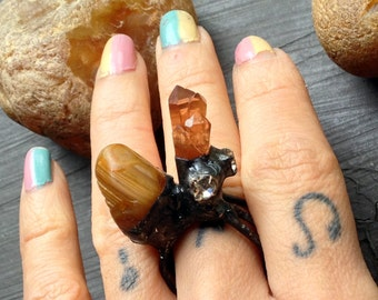 Large Novelty Tribal Ring, Statement Ring, Rhinestones Quartz Crystal, Agate gemstone, Chunky Ring, golden peach tangerineearth colors