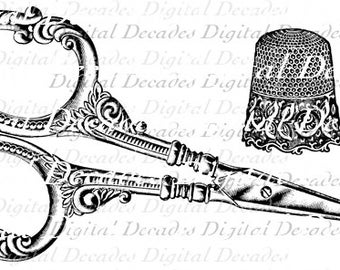 Sewing Scissors Thimble Antique - Digital Image - Vintage Art Illustration