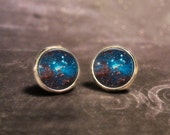 Space Galaxy Earrings - Sparkly Glittery Astronomy Milky Way Nebula Ethereal Blue Round Handmade Stud Post Earrings