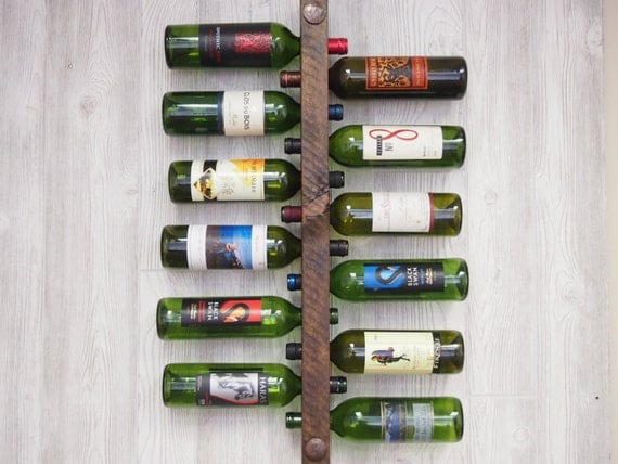 Wall Mounted Wine Rack 12 Bottle, Vertical Wine Rack, Wine Storage, wine rack wall mounted, wine rack wood, 5th anniversary gift for him