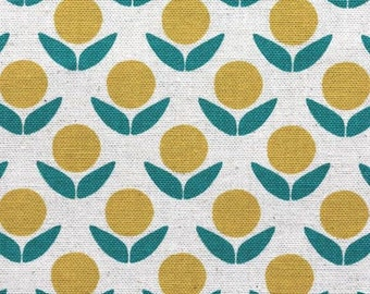 Stamped - Circle Flowers yellow by Ellen Baker from Kokka