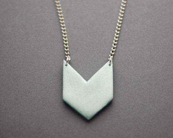 Geometric Chevron Triangle Necklace (Mint) - Modern Handmade Jewellery