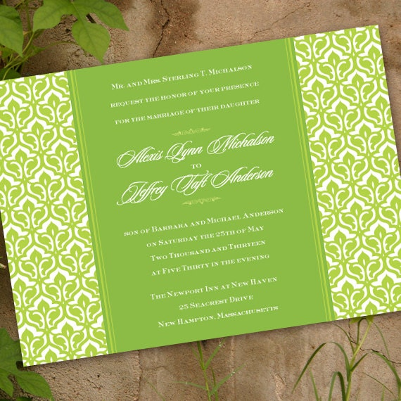 wedding invitations, bridal shower invitations, sweet pea bridal shower invitations, lime green party invitations, lime luncheon, IN186