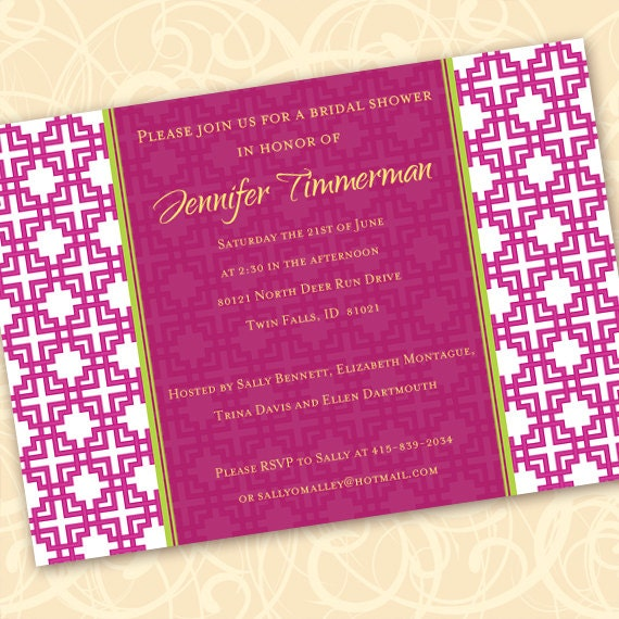 bridal shower invitations, hot pink bridal shower invitations, fuchsia bachelorette party invitations, pink and white invitations, IN191