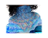 Lightweight Cowl Neck Muff blue aqua white 'Ocean Breeze' tropical ocean hues variegated blue green Mercerized Cotton