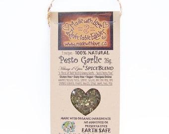 2 oz Pesto Garlic Artisan Spice Blend - Eco Nut-Free / Dairy-Free / Gluten-Free Gourmet Pasta Sauce Mix - Dip Mix - Organic Food Herb Spice