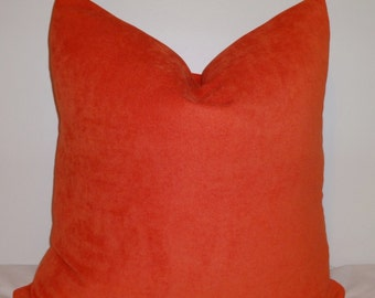 Solid Orange Tangerine Pillow Cover Decorative Pillow Throw Pillow  18x18