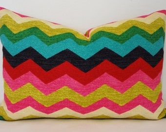 Waverly Panama Wave Multi-Color Zig Zag Chevron Lumbar Print Decorative Pillow Cover 12x20