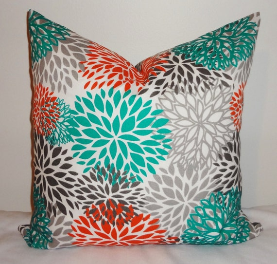 Outdoor Pillow Flower Burst Teal Orange Grey Deck By