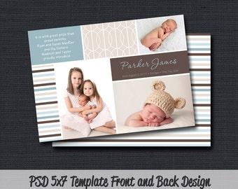 INSTANT DOWLOAD - Birth Announcement Template (Boy BA 24) Photographer Template
