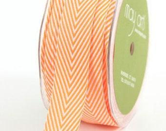 "Chevron Twill Tape, Orange Striped, 3/4"" wide Ribbon -  THREE YARDS - May Arts Spring, Easter, Summer, Halloween Craft Ribbon, Sewing Trim"