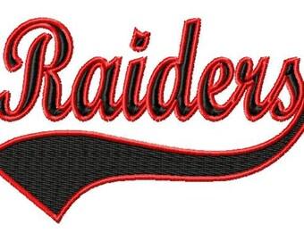 RAIDERS - Swoosh - Outline - Machine Embroidery Design - 11 Sizes
