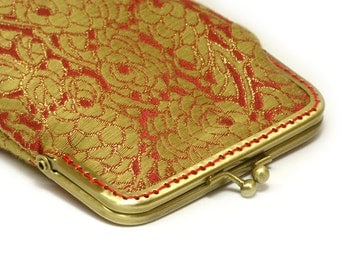 Gold Sunglass Case - Brocade Woven Embroidery - Gold and Red - Antique Bronze Frame