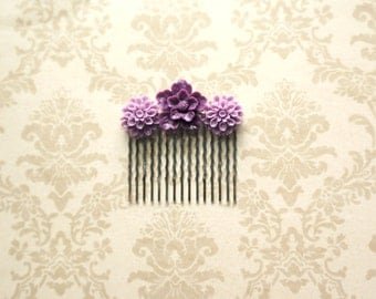 Purple and Lavender Flowers-  Hair Comb
