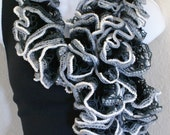 Ruffle lace soft scarf hand knit black grey white  multicolored