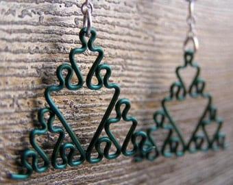 Fractal Earrings - Sierpinski Triangle Jewelry in Greens - Apple, Aqua, Forest, Green, Peridot, Sage, and Sea Foam
