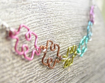 Puzzle Piece Necklace - Pastel Rainbow