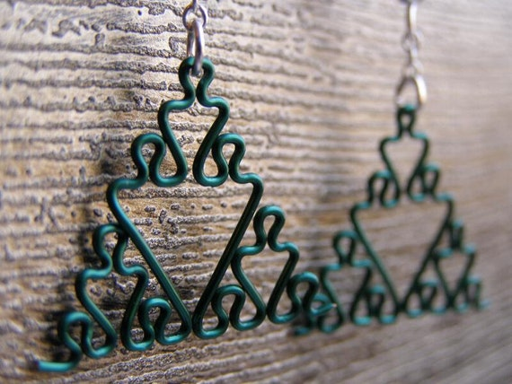 Fractal Earrings - Sierpinski Triangle Jewelry in Greens - Apple, Aqua, Forest, Green, Peridot, Sage, and Sea Foam