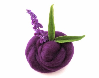 Eggplant Merino Wool Roving, wet felting wool roving, needle felting wool, spinning wool, nuno felting wool, purple merino wool, merino wool